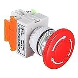ILS - 5 Piezas N/ON/C Interruptor de Parada de Emergencia con botó de Seta 4 Tornillo Terminales