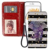 Pingge iPhone 5C Wallet Case Mandala Elephant Lightweight Slim Shockproof Cellphone Case Cover with Card Slots Kickstand for iPhone 5C