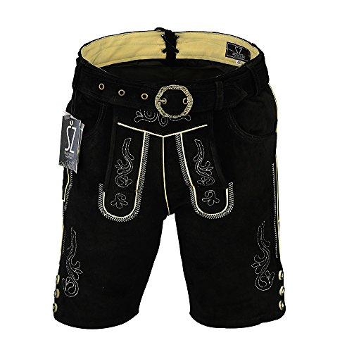 Shamzee Trachten Lederhose Kurz inklusive Gürtel aus Echtleder in Schwarz Farbe (62, Schwarz)