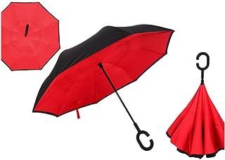 Wenzi-day Folding Reverse Umbrella Double Layer Inverted Windproof Rain Car Umbrellas For Women Man,Red