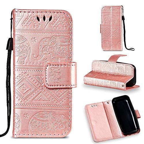 Guran® PU Ledertasche Hülle für Nokia 105 (2017 Version) Smartphone Flip Cover Stent-Funktions Hülle Elefant geprägtes Muster Etui - Roségold
