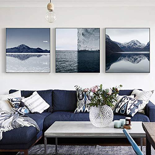 SLQUIET Nordic seelandschaft landschaft bild leinwanddruck für wohnzimmer schlafzimmer korridor dekoration hause wandkunst malerei ohne rahmen 90x90 cm