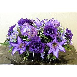 Purple Rose Cemetery Headstone Arrangement, Summer Cemetery Saddle