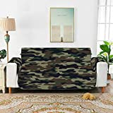 YSWPNA Classic Clothing Masking Camo Sofa Cover Kids Fit-All Sofa Cushion Cover Chair Slipcover Recliner 66' for 3 Seat Sofa Protect from Kids, Dogs and Pets