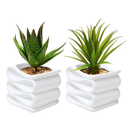 MyGift,vasi in ceramica per fiori e piante, piccoli, moderni e decorativi con design a pieghe, confezione da 2 pezzi