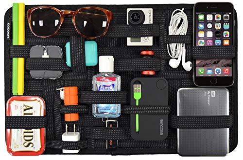 Cocoon GRID-IT - Taschen Organizer / Elastische Bänder / Elektronik Zubehör / Organizer für Aktentasche / Multifunktionales Organisationssystem mit Reißverschluss & Schlaufe – Schwarz / 38,4x1x24,4cm