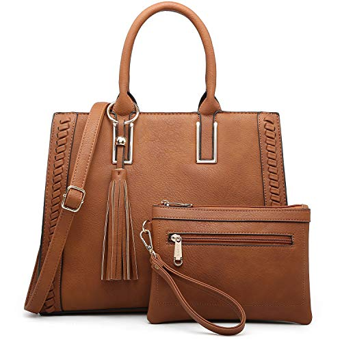 Dasein Women Satchel Handbags Vegan Leather Purses Tassel Shoulder Bags Work Tote for Ladies with Long Strap (brown with wallet)