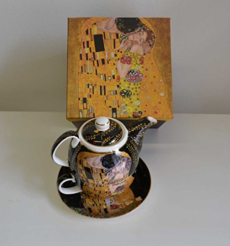 Atelier Harmony 'Tea for One Il Bacio di Gustav Klimt in Porcellana con Confezione Regalo Nuovo Limited Collection Nero