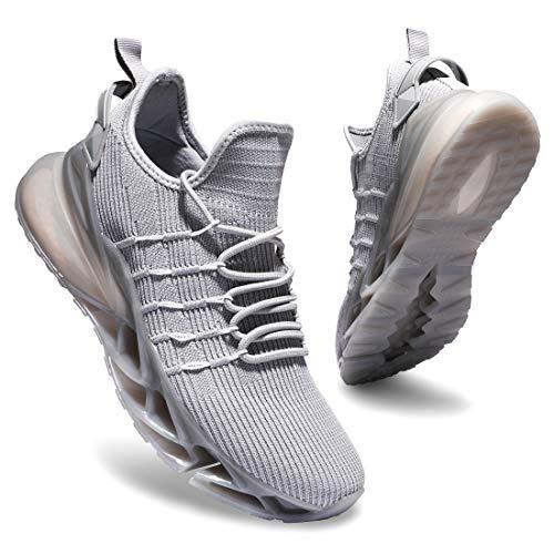 Deevike - Zapatillas de deporte para mujer, transpirables, con cojín de aire, (1 gris blanco), 39 EU
