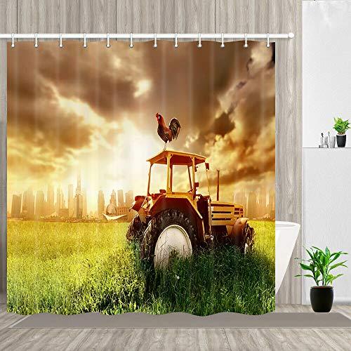123456789 Bauernhof Hahn stehend auf Traktor Duschvorhang Bad Dekor wasserdichtes Gewebe 71 x 71