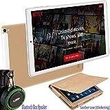 Tablette Tactile Ecran 10 Pouces 4G Doule SIM/WiFi 4GB RAM 64GB ROM Quad Core Android 9.0 8500mAh Batterie 5MP+8MP Caméra Portable Tablettes Pas Cher avec Enceinte Bluetooth (Or)
