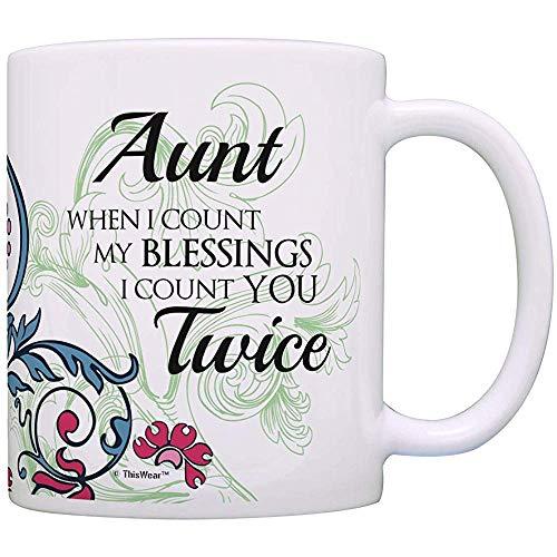 Regalos de cumpleaños de la tía Cuando cuento mis bendiciones te cuento dos veces Taza de café del regalo de la tía
