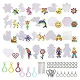 Hama Beads Plantilla, 20 Piezas 5 mm Grandes Placas de Perlas de Fusibles Transparentes Plantillas de Tableros con 44 Piezas Accesorios de Cadena para NiñOs Suministros de Manualidades de Bricolaje