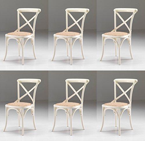 sedie da cucina shabby chic Set 6 SEDIE Country Shabby Chic Colore Bianco Anticato con Seduta in Paglia fitta - Promo Outlet Online