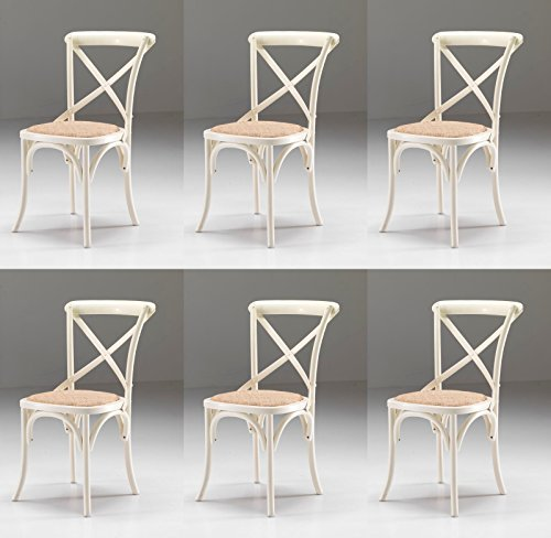 Set 6 SEDIE Country Shabby Chic Colore Bianco Anticato con Seduta in Paglia fitta - Promo Outlet Online