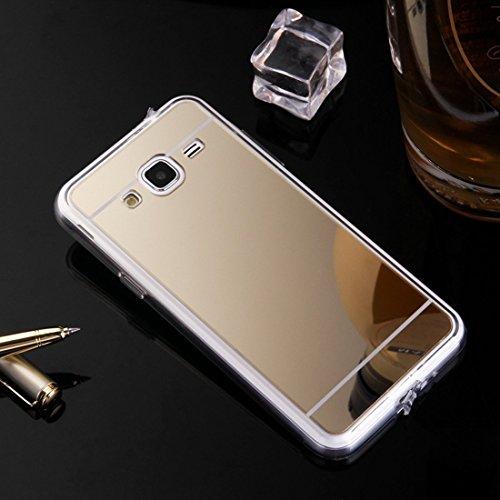 Nadoli Galaxy Grand Prime G530 Spiegel Hülle,Glänzend Shiny Mirror Effect Soft TPU Case Spiegel Flexibel Gel Schutzhülle für Samsung Galaxy Grand Prime G530,Gold