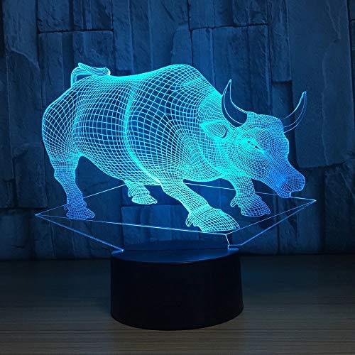 Lámpara de mesa de acrílico 3D taurina Lámpara de mesa multicolor Luz de noche LED Decoración de regalo