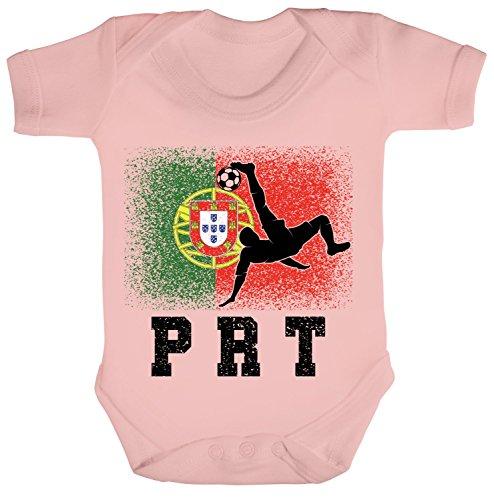 Wappen Fußball WM Fanfest Gruppen Trikot Strampler Bio Baumwoll Baby Body kurzarm Jungen Mädchen Portugal Football Player, Größe: 12-18 Monate,Powder Pink