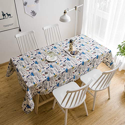 HTUO Tablecloth Christmas Decoration Washable Linen Fabric Table Cloth Rectangular Table Cloths Wipeable Waterproof Tablecloths Dining Kitchen Party Table Covers 40 * 60cm