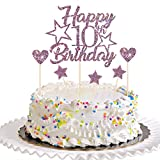 Dill-Dall Purple Glitter Happy 10th Birthday Cake Topper with Cupcake Toppers - 10th Birthday Cupcake Decoration, 10th Birthday Cake Decor for Boys or Girls (10th)