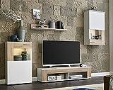 BMG Möbel Wohnwand Schrankwand Wohnzimmerschrank Mediawand Anbauwand TV-Element Tampa in weiß matt/Sonoma Eiche inkl. LED Beleuchtung Made in Germany - 3