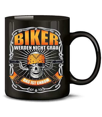 Biker werden nicht Grau das ist Chrom Motorrad Chopper Tasse Becher Kaffeetasse Kaffeebecher mit spruch Artikel Geburtstag Geschenkartikel motorrad Geschenke für männer deko kaffeedose motorradfahrer