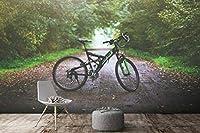 YCRY-壁紙3Dフォレストバイクトランスポート -壁の装飾-ポスター画像写真-HD印刷-現代の装飾-壁画-280x200cm