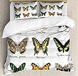Juego de funda nórdica de mariposa, estilo acuarela de insectos de primavera Urania Helius Saturnia Pavonia Animal Design, juego de cama decorativo de 3 piezas con 2 fundas de almohada, amarillo pálid