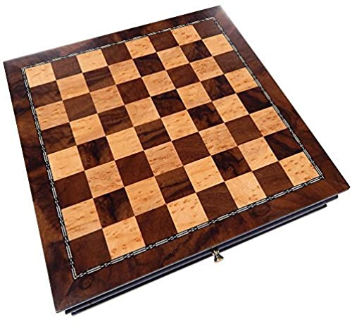 Vada Burl Wood Inlaid Chess Cabinet with Drawer - 13 Inch Set - Board Only, No Pieces by Best Chess Set
