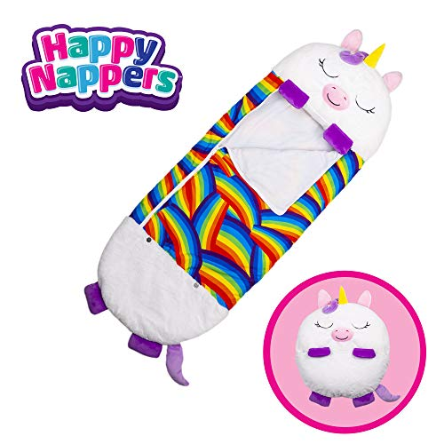 "Happy Nappers Pillow & Sleepy Sack- Comfy, Cozy, Compact, Super Soft, Warm, All Season, Sleeping Bag with Pillow- Medium 54"" x 20"", White Unicorn"