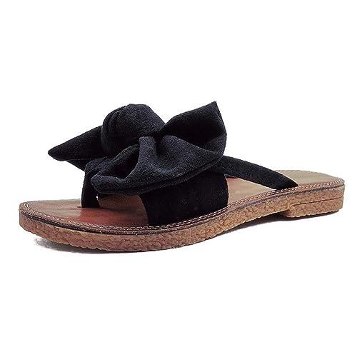 c0e846a546d0 Syktkmx Womens Slides Flip Flops Cute Thong Strappy Slip on Bowknot Flat  Sandals