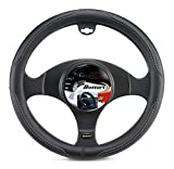 Bottari 16341 funda volante para coche, universal, road, color negro con bordado gris, talla pequeña 35/37 cm, diámetro 35-37 cm