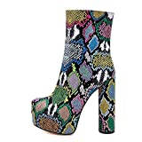 Stupmary Women's Ankle Boots Round Toe Platform Mid-calf Bootie Cylinder Block High Heeled boots Snake Print