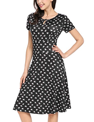 Meaneor Damen Kleid Kurzarm Sommerkleid Vintage Jerseykleid Muster Skaterkleid Elegant Freizeitkleid Vogelmuste Cocktail A Linie Knielang Schwarz