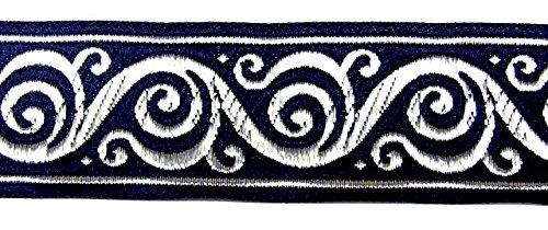 10m Keltischer Borte Webband 35mm breit Farbe: Dunkelblau-Silber von 1A-Kurzwaren Si42-dklblsi-35