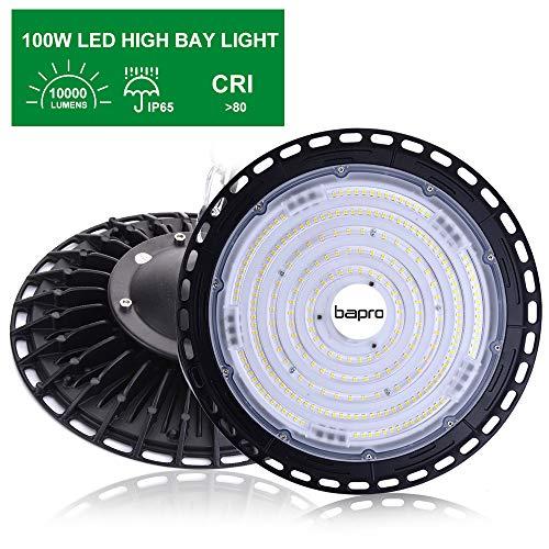 100W LED UFO Strahler 10000LM LED Industrielampe, Werkstattlampe Hallenstrahler Hallenbeleuchtung 6500K Kaltweiß 120°Abstrahlwinkel IP65 Wasserdichte Bergbaulampe für Fabrik, Industrie (1 Pack, 100W)