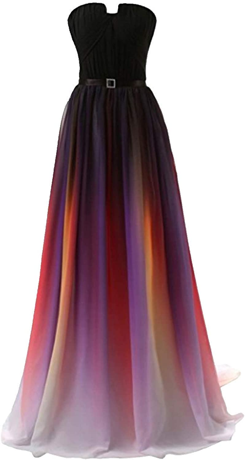 ANGELA Women's Ombre Bridesmaid Dresses Gradient Long Prom Evening Gowns Formal