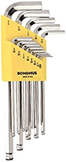 Bondhus 16937 Set of 13 Balldriver L-wrenches with BriteGuard Finish, Long Length, sizes .050-3/8-Inch