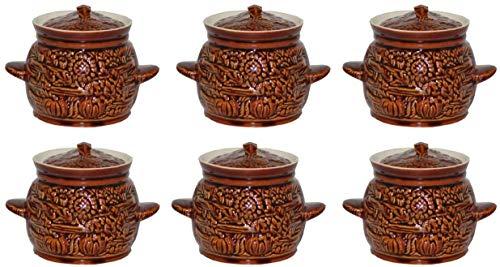 GMMH Kochtopf Auflaufform Keramik Topf Töpfe Set 6 Stück (Sonnenblumen)