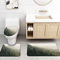 ZGDPBYF 浴室の風景のためのアップホームバスマットレトロフォレストミストプリントバスマットシャワーフロア用カーペットバスタブマット