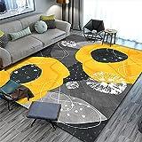 Kunsen Moderno Minimalista Abstracto salón Alfombra Sala de Estar Alfombra Cristal Terciopelo alfombras Rebajas alfombras Grandes Baratas Infantiles Alfombra Barata Amarillo Alfombra de ext100X140CM