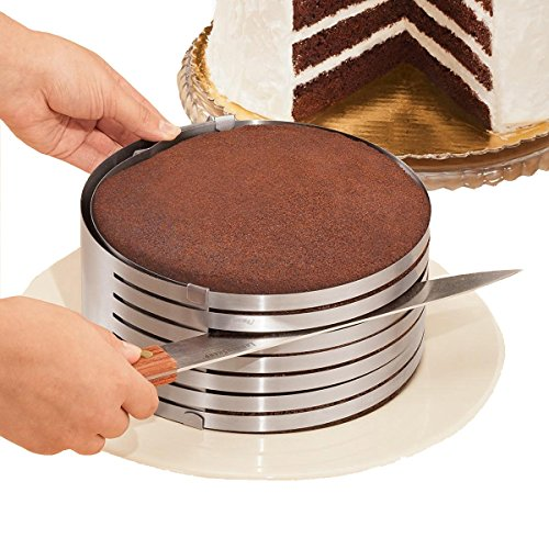 MarxHousehold Adjustable 9 to 12 Stainless Steel Layer Cake Slicer Cutter Mousse Mould Slicing Cake