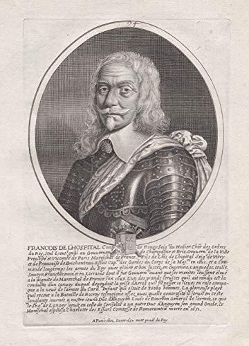 Francois de l'Hospital... - Francois de l'Hospital (1583-1660) Saint-Genevieve Meaux Saint-Germain-des-Pres Champagne Paris Portrait