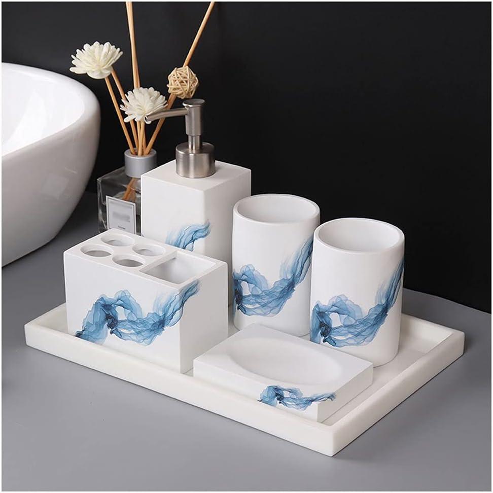 OMIDM Soap Dispenser Ceramic White Bathroom Accessories Set Comp