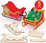 Baker Ross AT286 Wooden Sleigh Kits (Pack of 5) -Christmas Arts and Crafts, Assorted