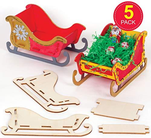 Baker Ross AT286 Schlitten aus Holz Bastelset Kinder (5 Stück) Basteln zu Weihnachten, Sortiert