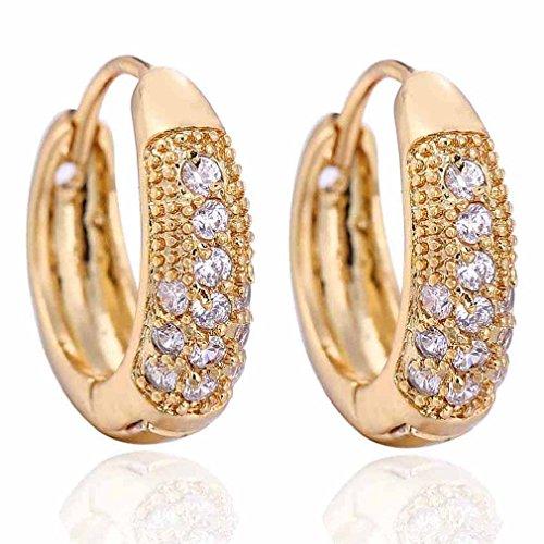 Yazilind elegante 14K Gold Filled embutido redondo claro cúbicos Circonita Pequeños pendientes del aro de Idea regalo de las mujeres