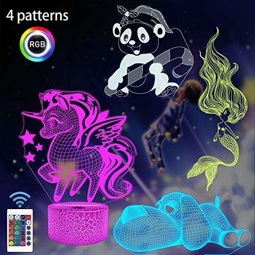 Regali di unicorno, Panda Mermaid Dog 3D Night Light per bambini (4 modelli) con telecomando e cambio di 16 colori, regali di compleanno di Natale per ragazza