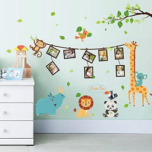 Cartoon Animal fotolijst Muursticker Dierlijk Sticker Kinderkamer Decoratie Slaapkamer Kleuterschool DIY Verwijderbare Decal Muursticker60X90cm