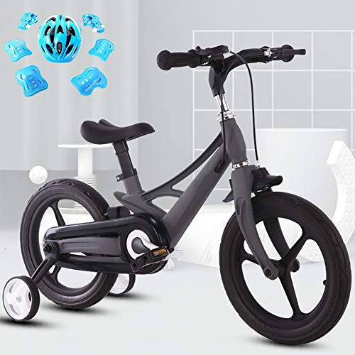 LINGYUN Kids Bike with Trainning Wheels for 2-9 Years Old Boys and Girls, 12/14/16 inch Magnesium Alloy Toddler Bike with Hidden tire Brake for Children,Black,14in